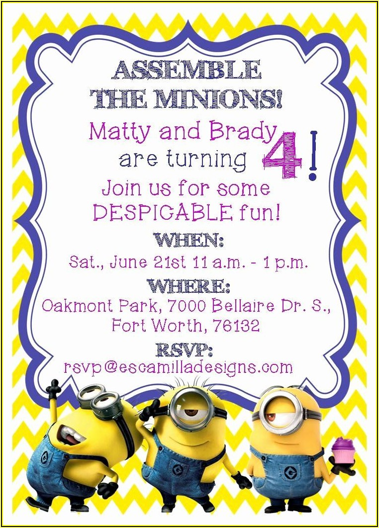 Minion Birthday Invitation Template