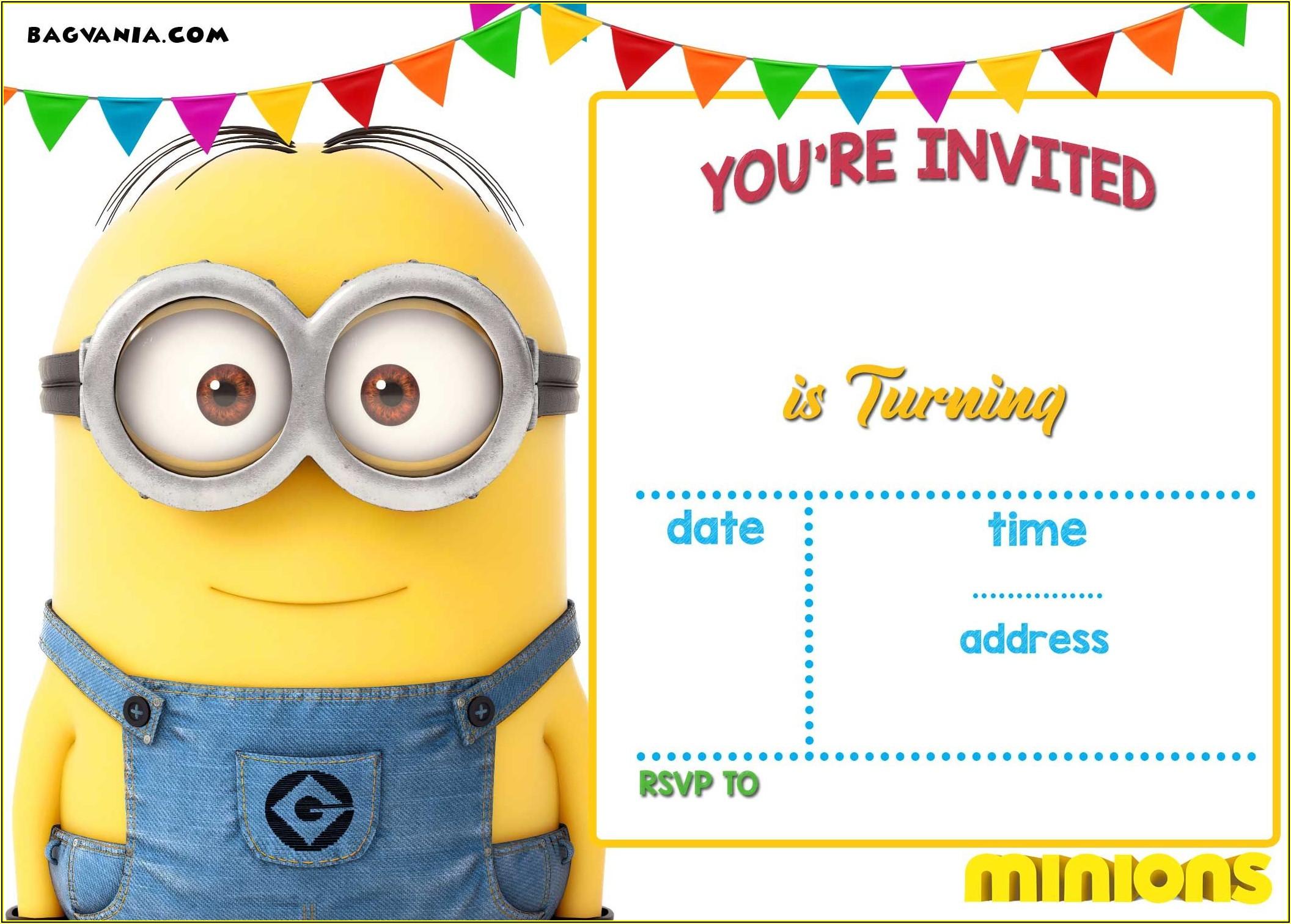Minion Birthday Invitation Templates Free Download