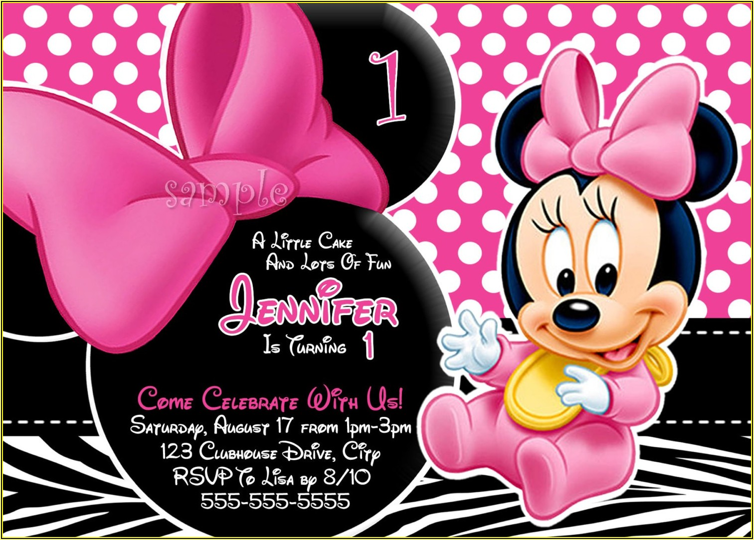 Minnie Mouse Birthday Invitation Layout
