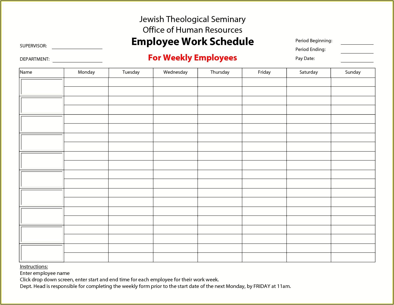 Monthly Employee Work Schedule Template