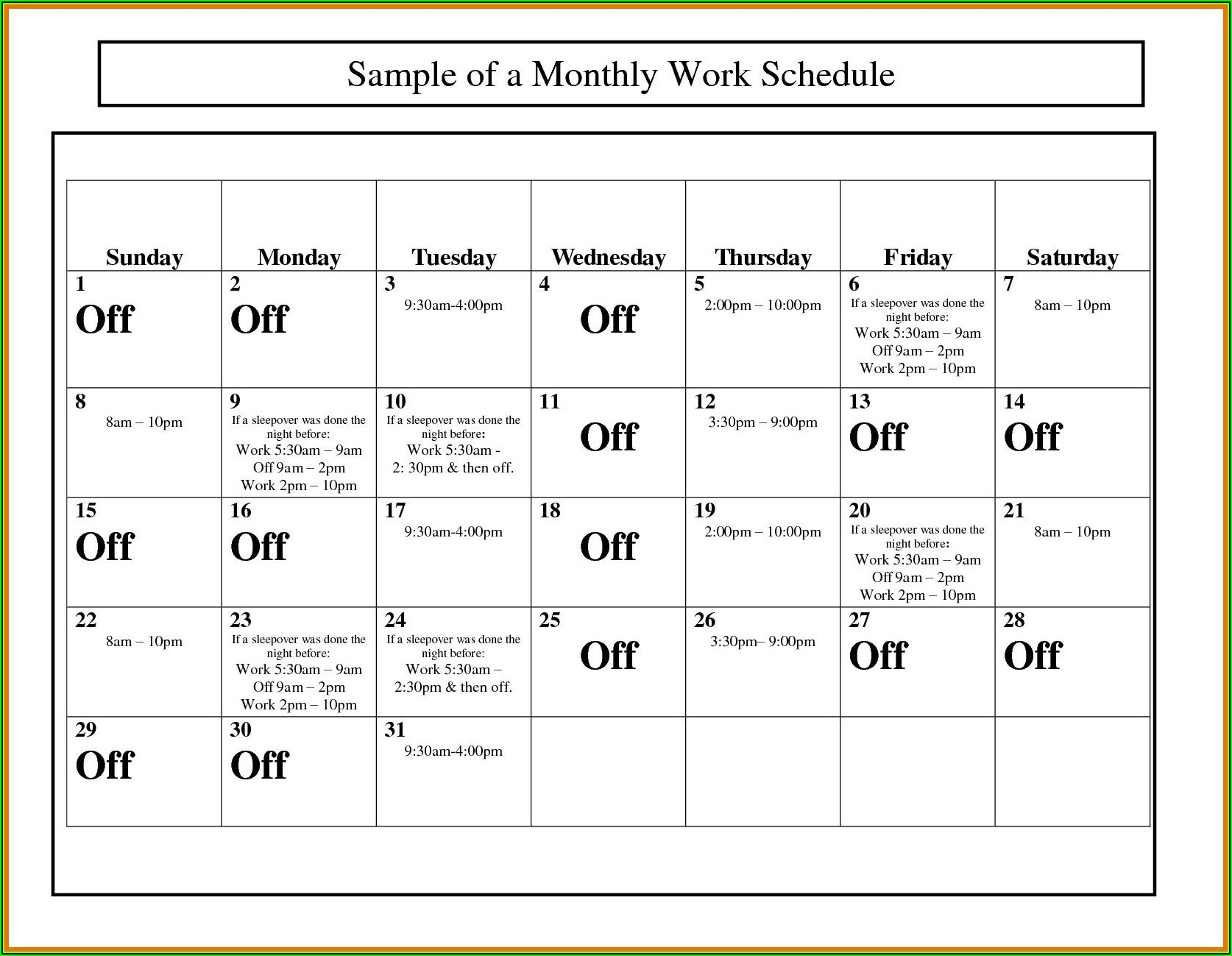 Monthly Work Schedule Calendar Template