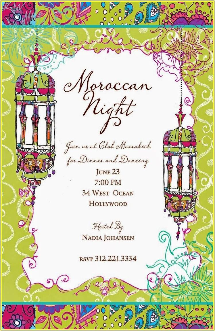 Moroccan Party Invitation Templates