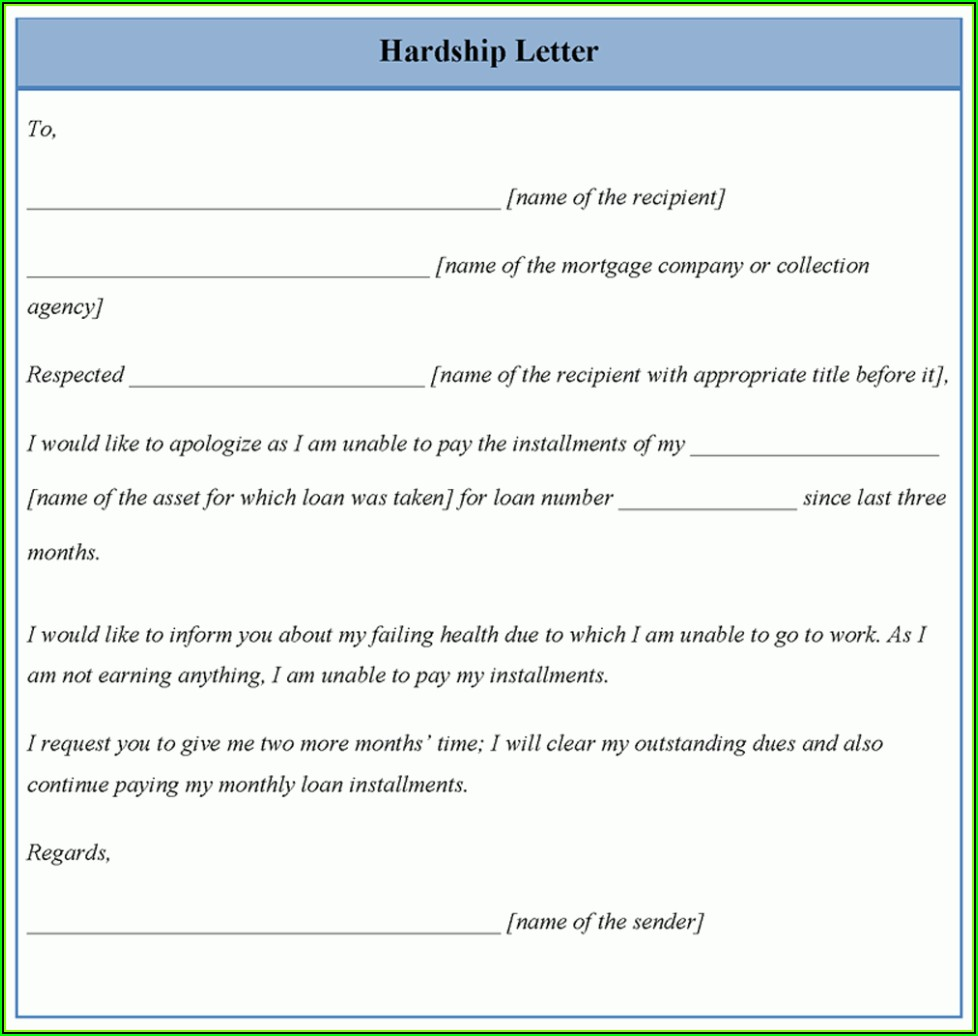 Mortgage Modification Hardship Letter Example