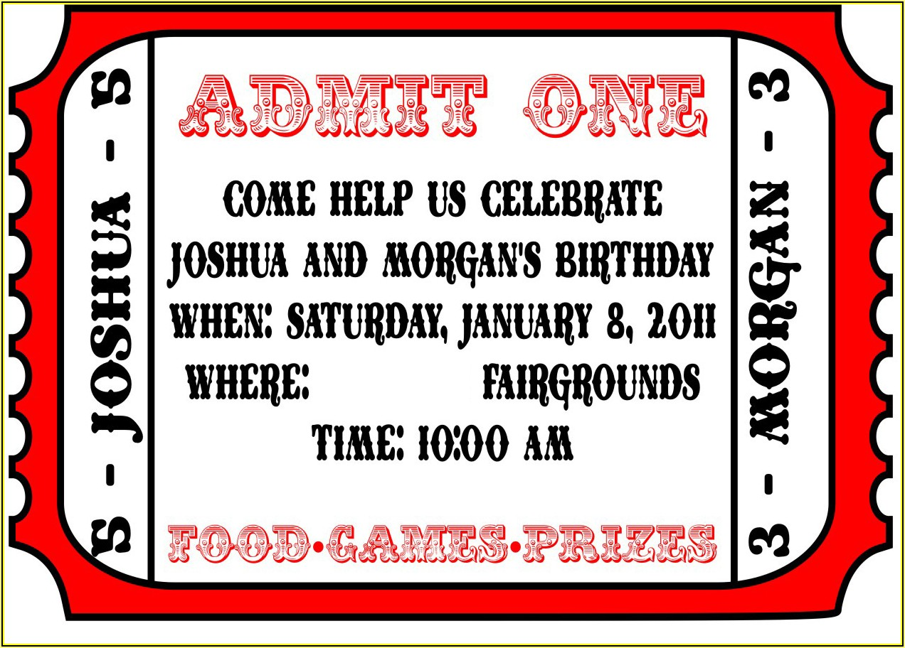 Movie Ticket Birthday Invitations Template Free