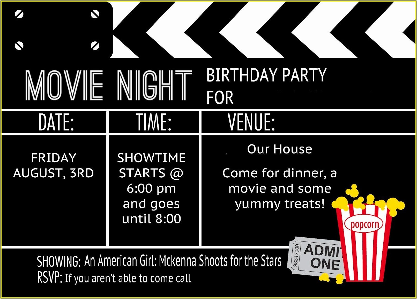 Movie Ticket Birthday Party Invitation Template Free