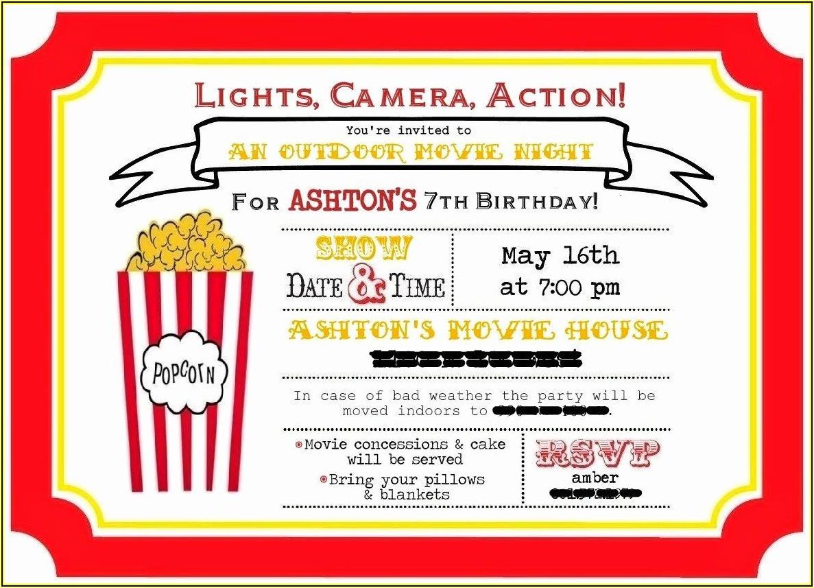 Movie Ticket Invitations Printable Free
