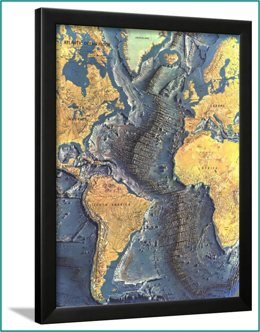 National Geographic Atlantic Ocean Floor Map