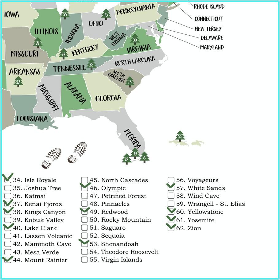 National Parks Map Usa Printable