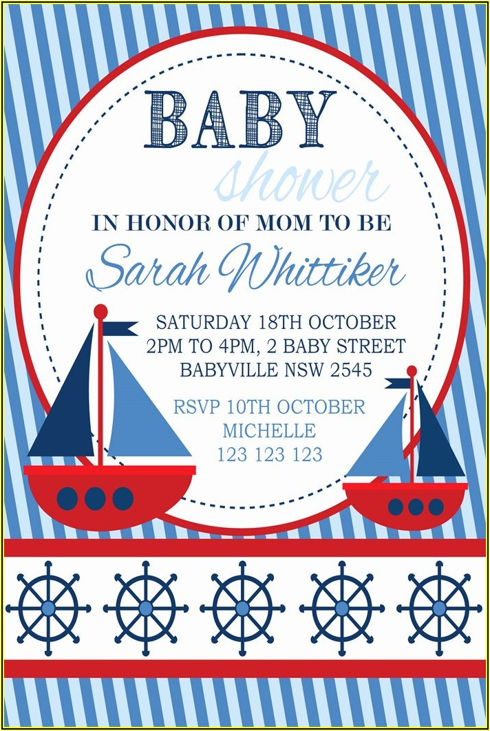 Nautical Theme Baby Shower Invitation Template