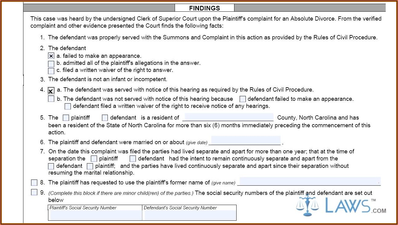Nc Absolute Divorce Forms