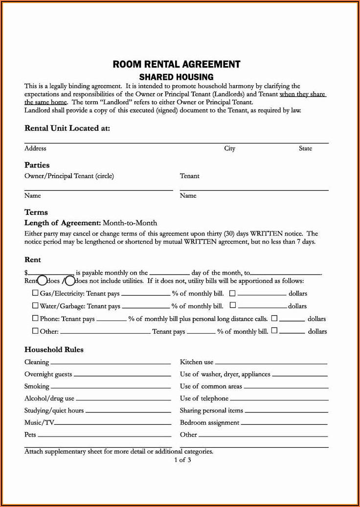 Nc Lease Agreement Form Free