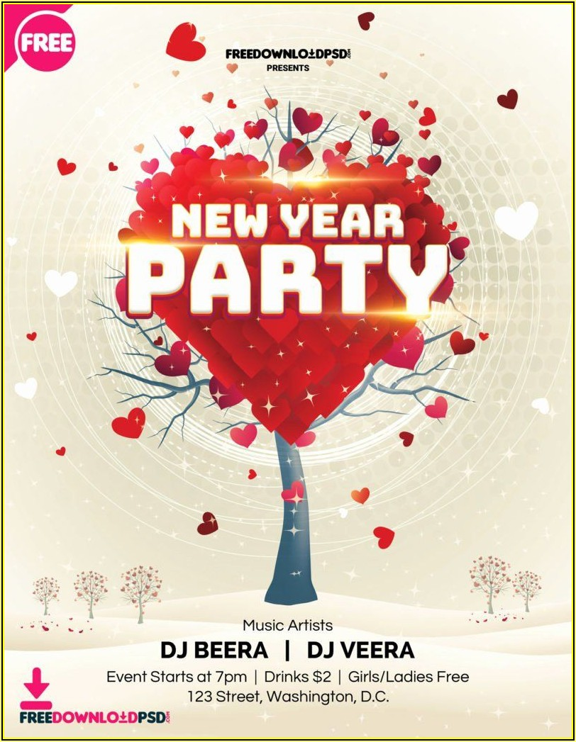 New Year Party Invitation Template Free
