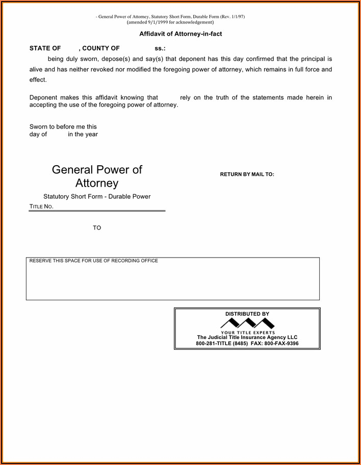 New York Durable General Power Of Attorney Form