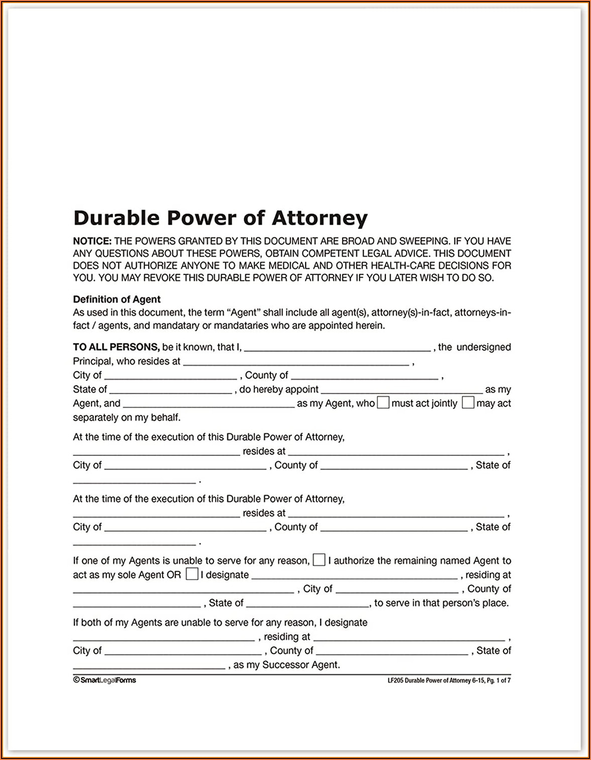 New York State Durable Power Of Attorney Form 2017