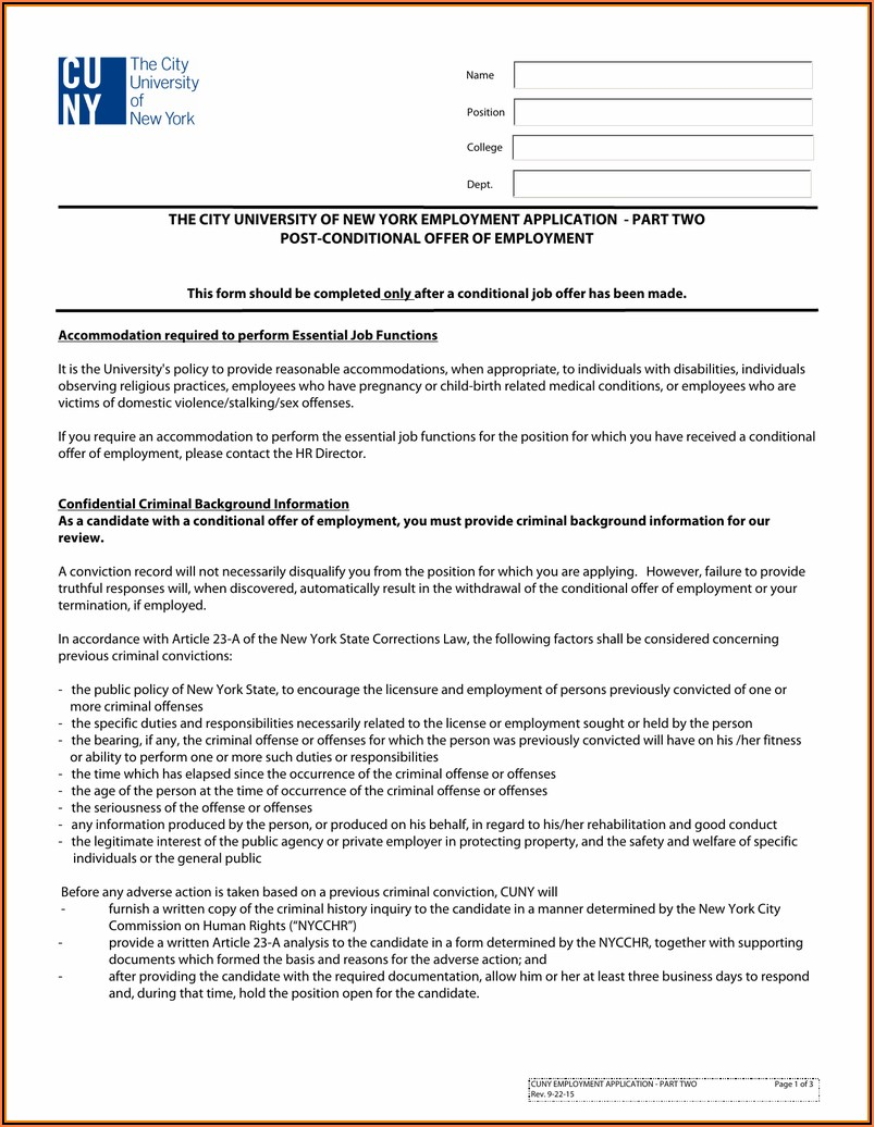 New York State Employment Application Form