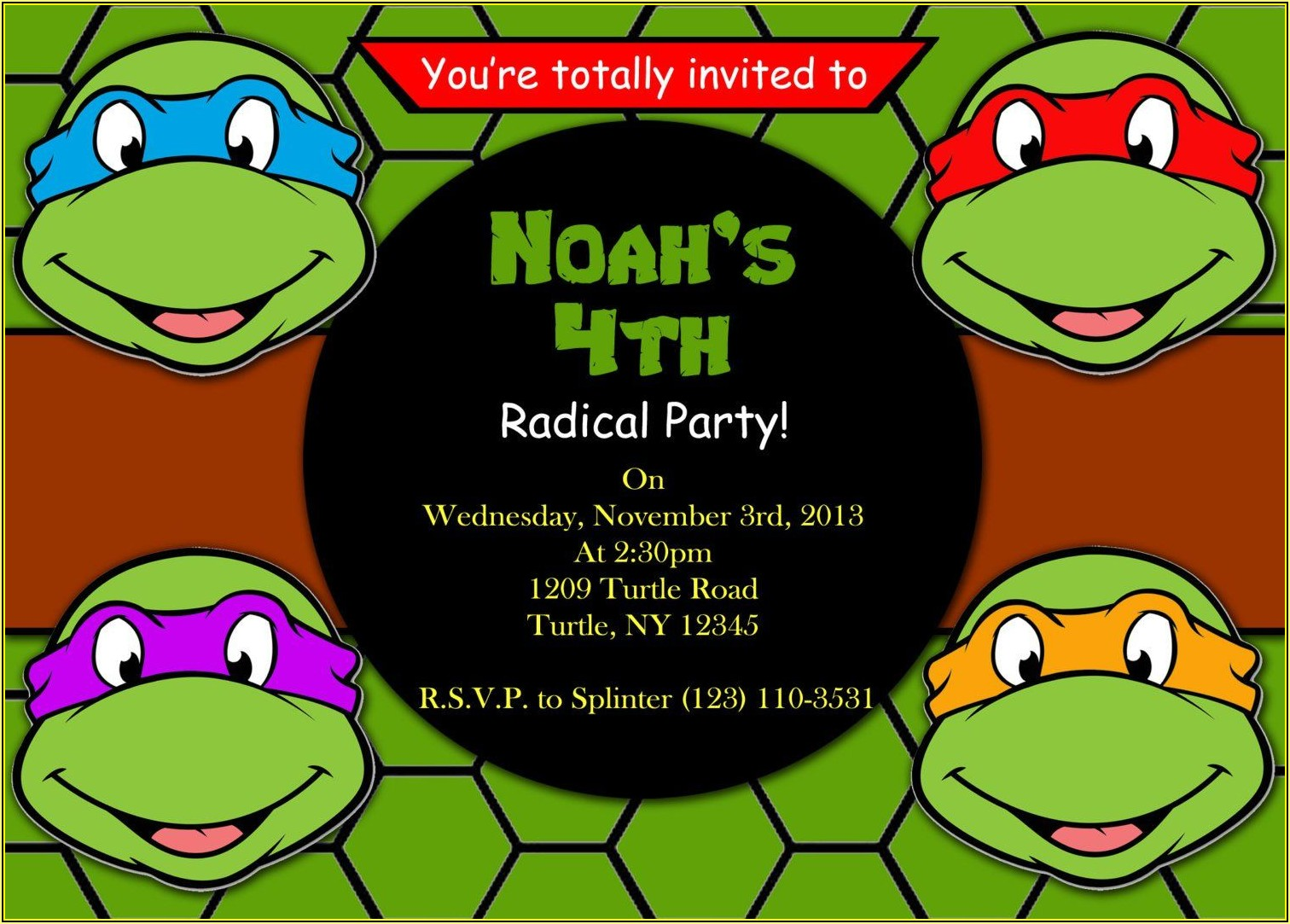 Ninja Turtle Party Invitation Template Free
