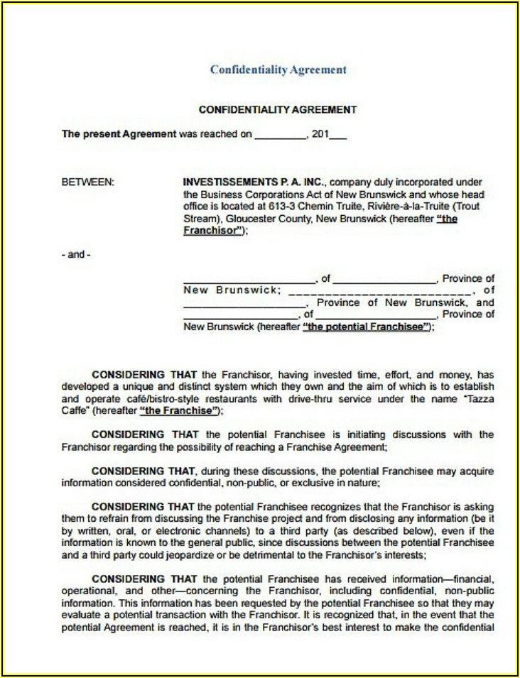 Non Disclosure Agreement Template Free Pdf