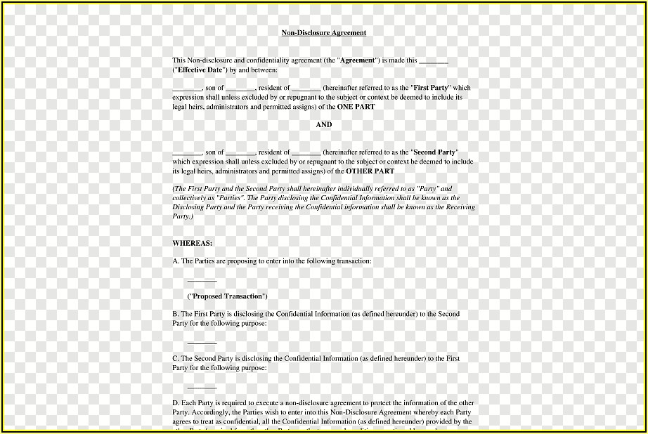 Non Disclosure Agreement Template Free Word