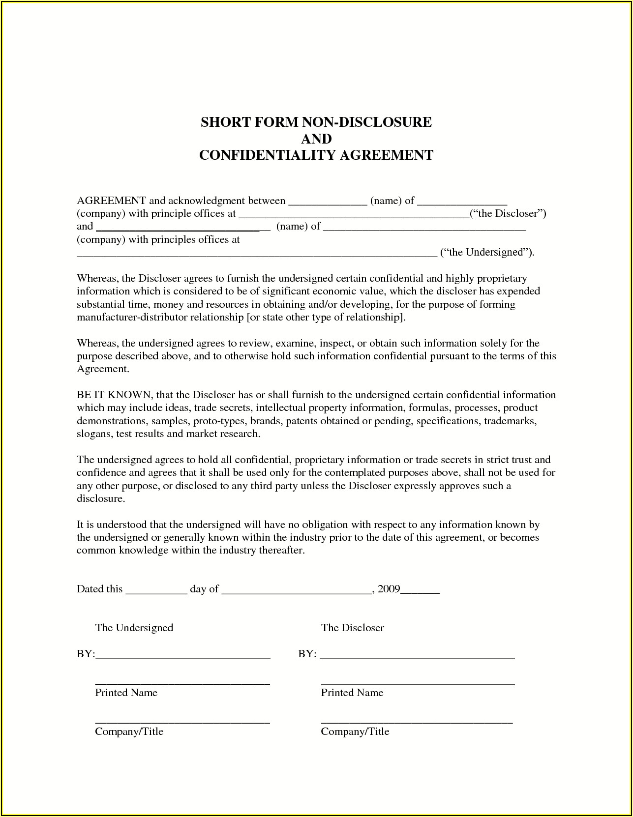 Non Disclosure Agreement Template Free