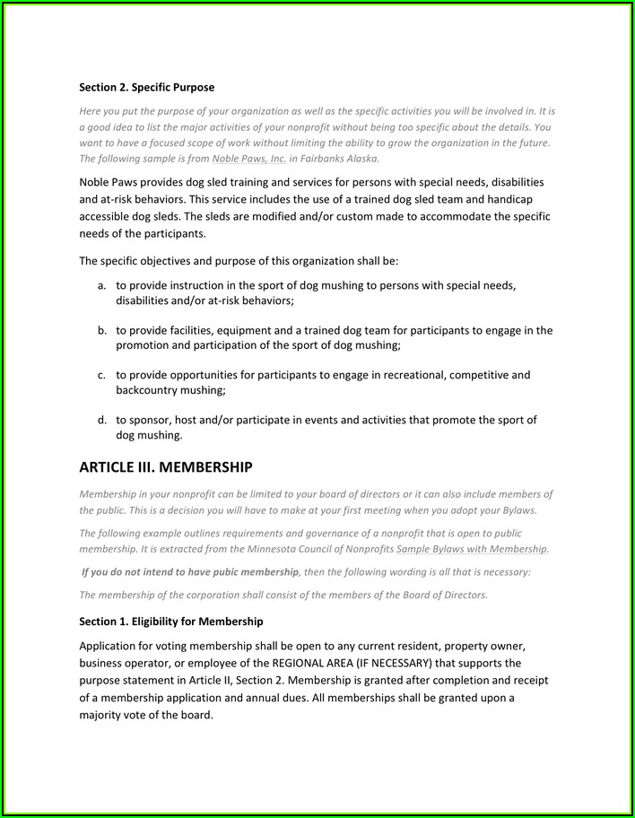 Nonprofit Bylaws Template Pdf