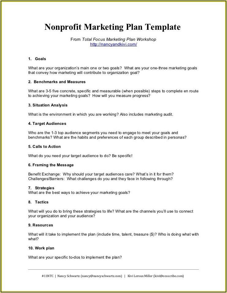 Nonprofit Organization Marketing Plan Examples