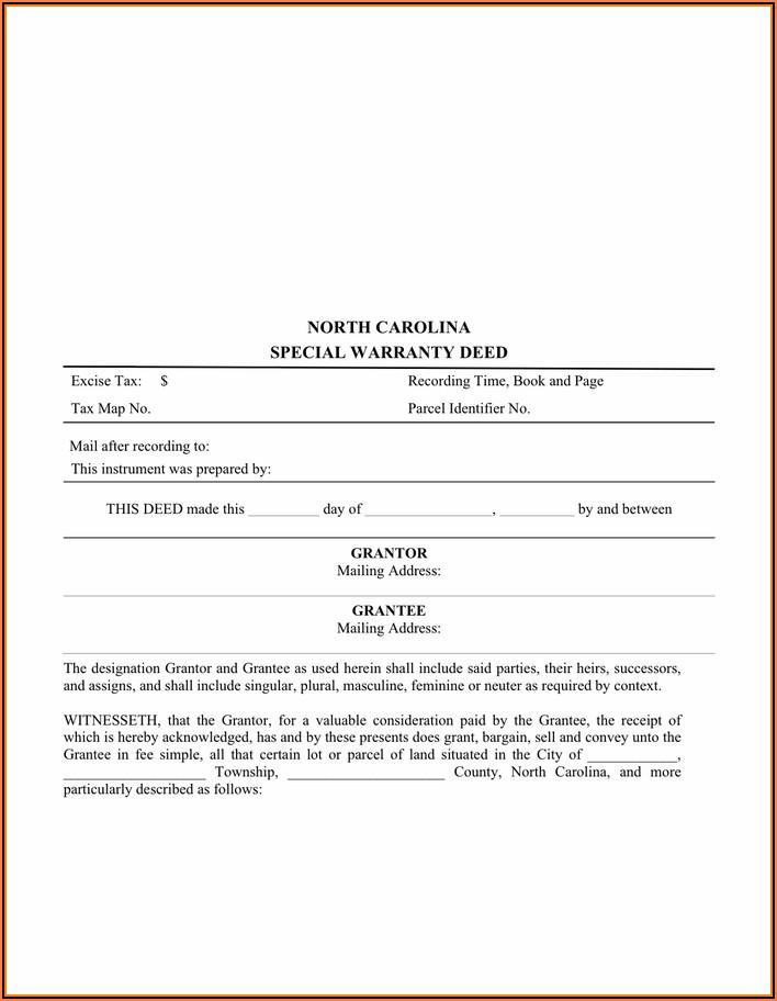 North Carolina General Warranty Deed Template