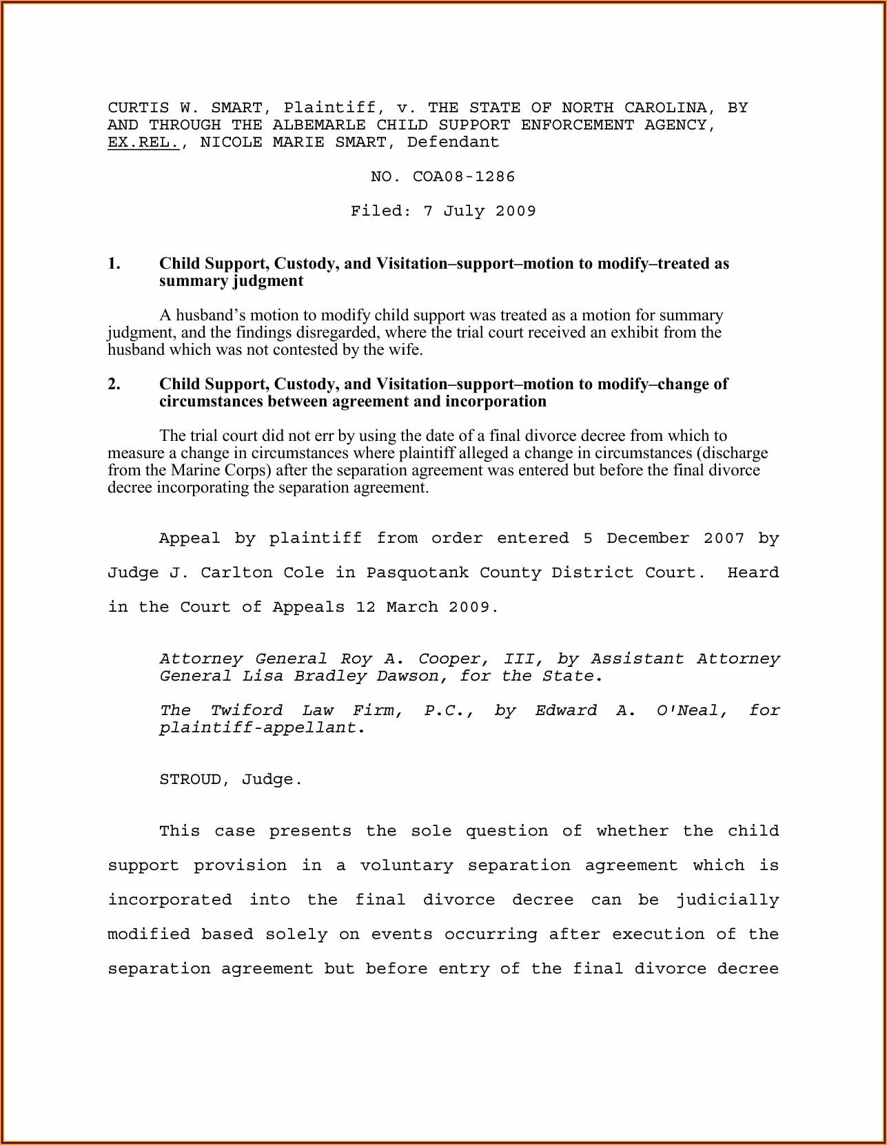 North Carolina Legal Separation Forms Free
