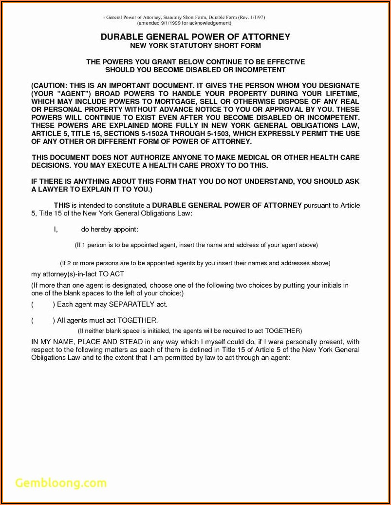 Nys Durable General Power Of Attorney Form