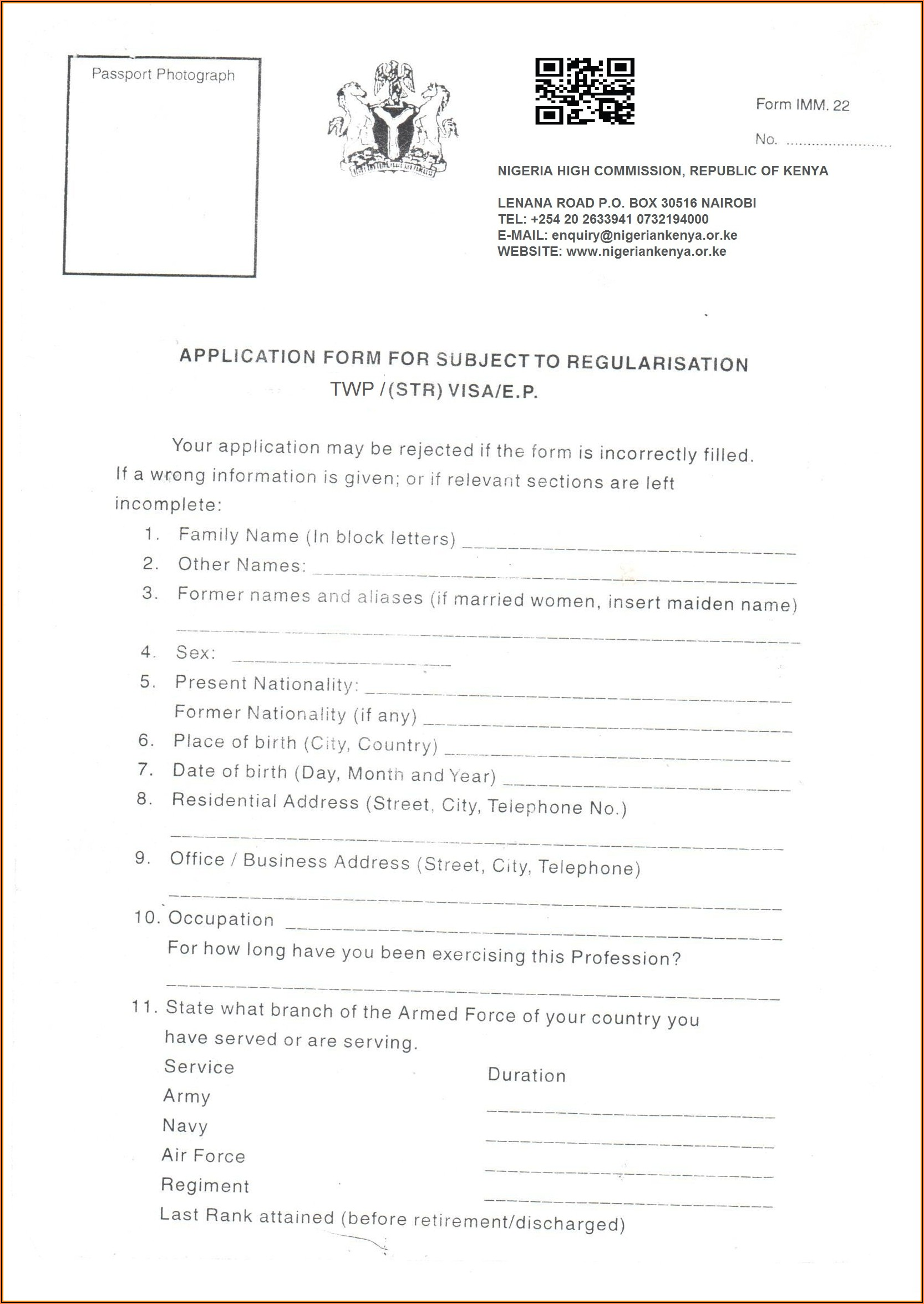 Online Application Form For Nigerian Visa