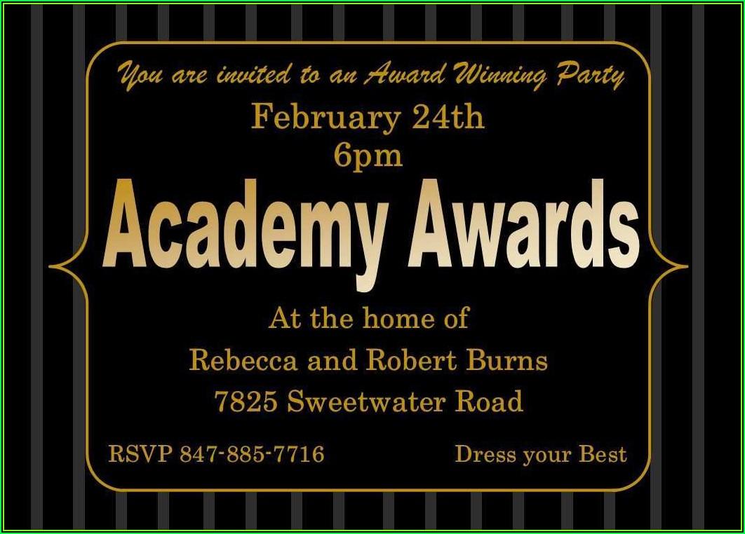 Oscar Invitation Template Free