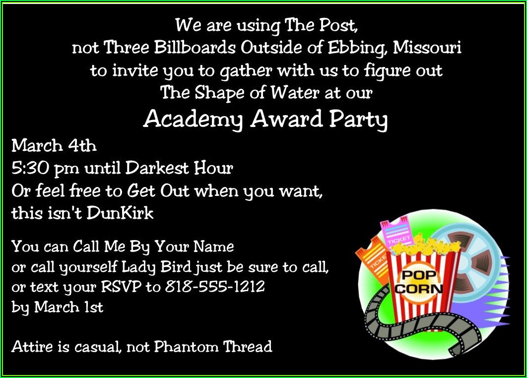 Oscar Themed Invitation Template