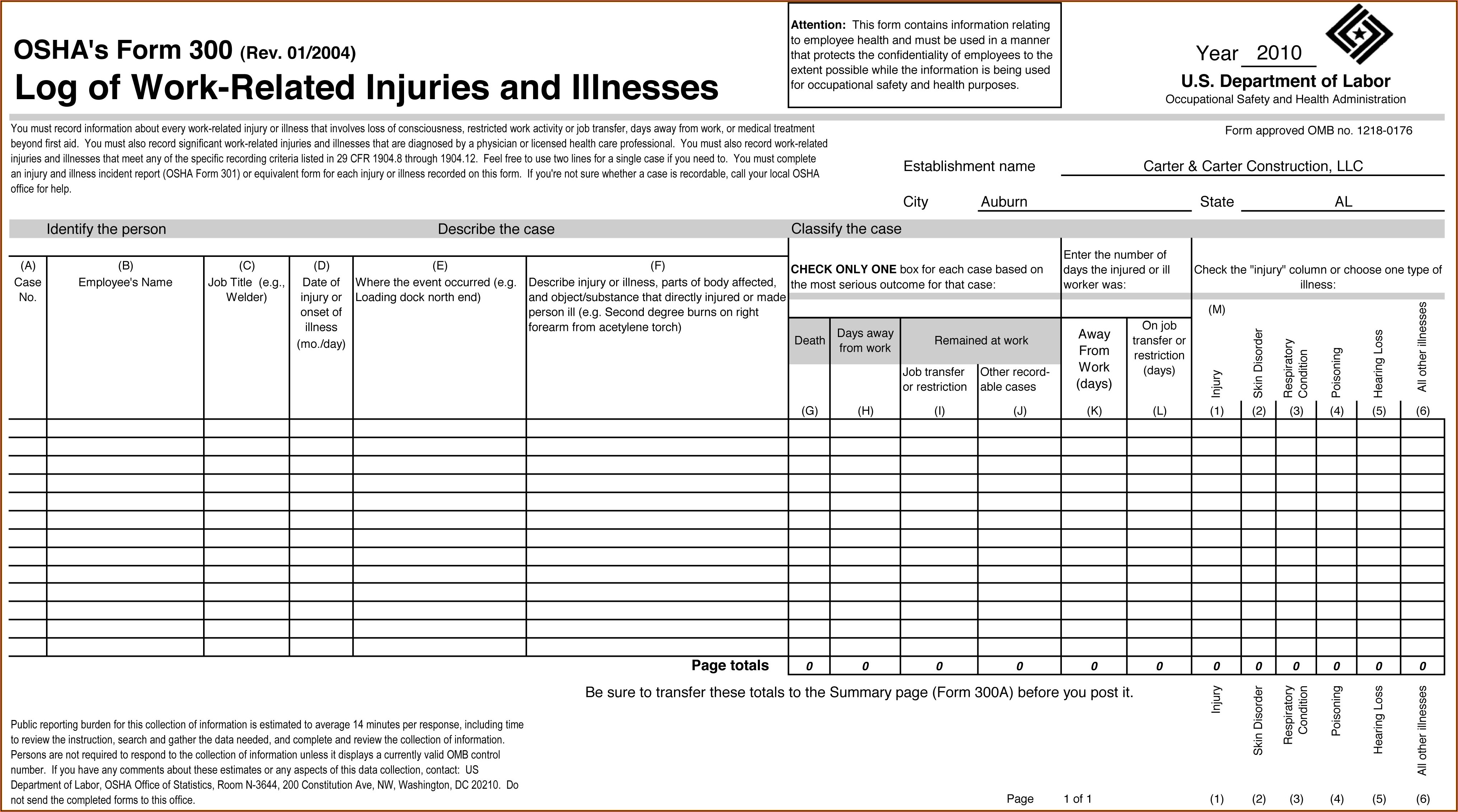 Osha Forms For Recording Work Related Injuries And Illnesses 2017