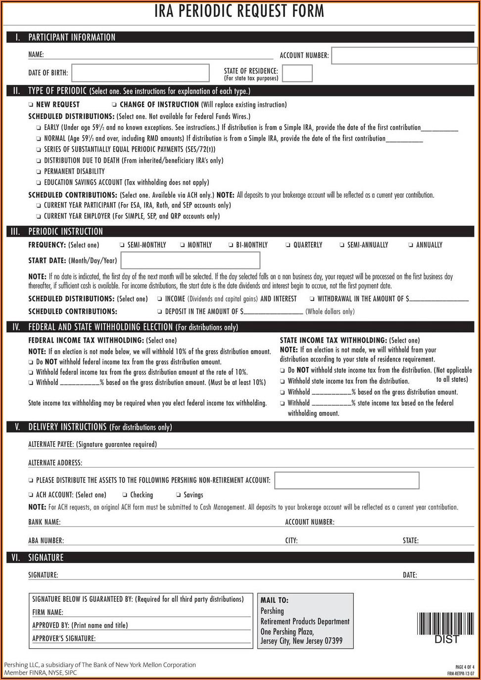 Pershing Iraesa Distribution Request Form
