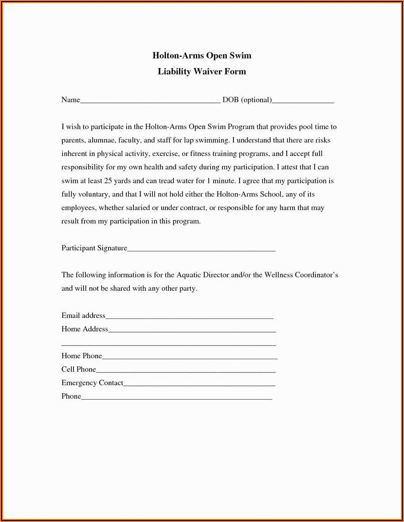 Personal Trainer Waiver And Release Form Template