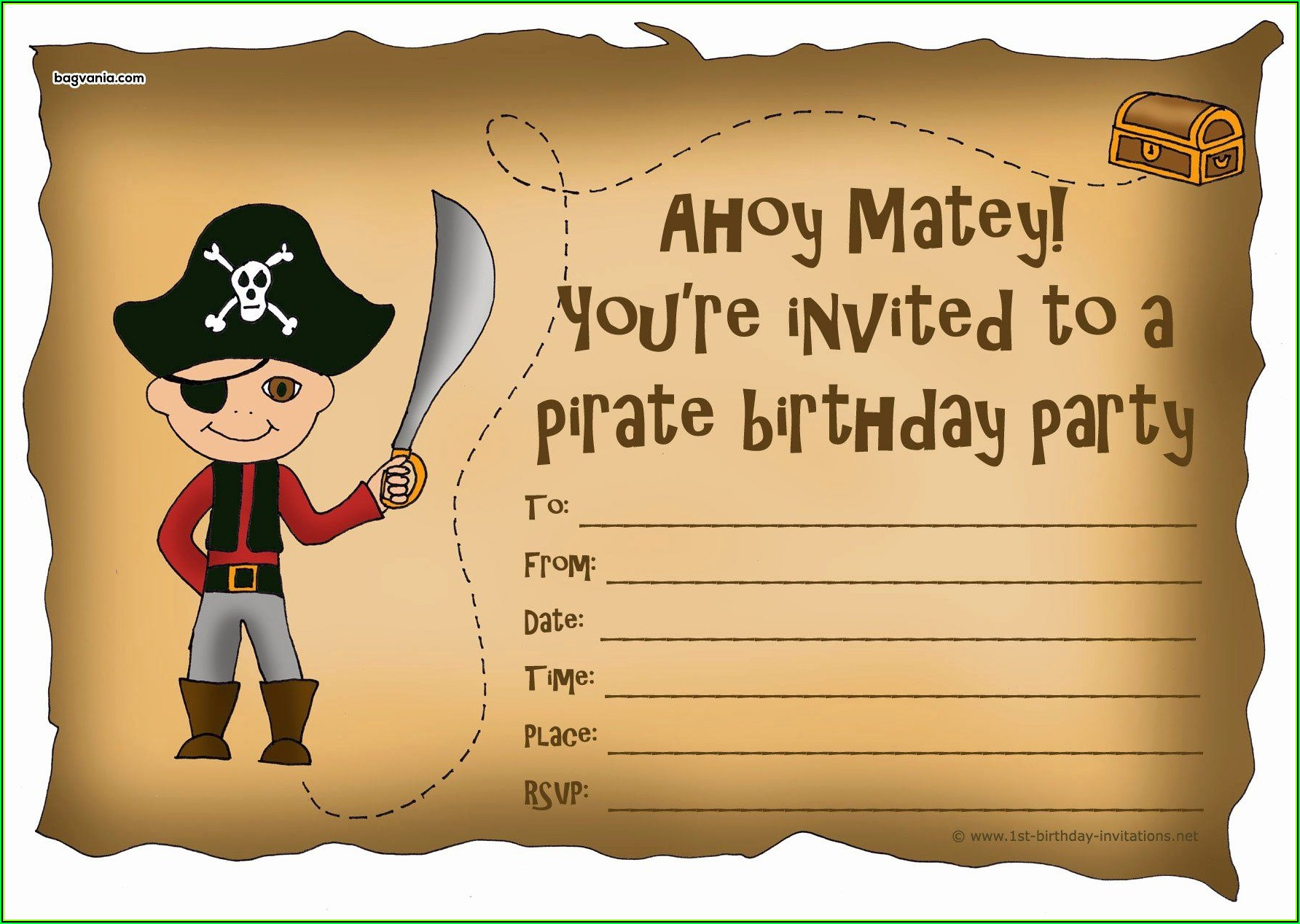Pirate Birthday Party Invitation Template Free