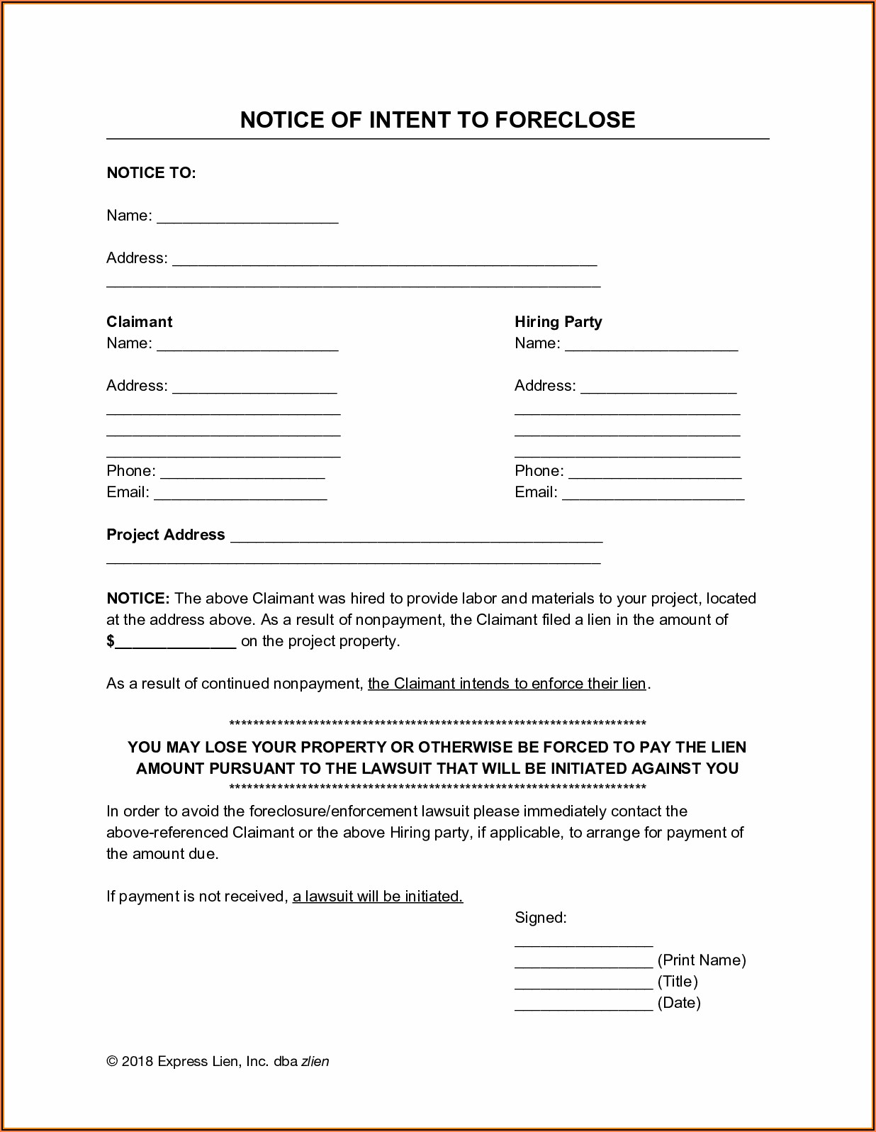 Pre Lien Notice Form Minnesota