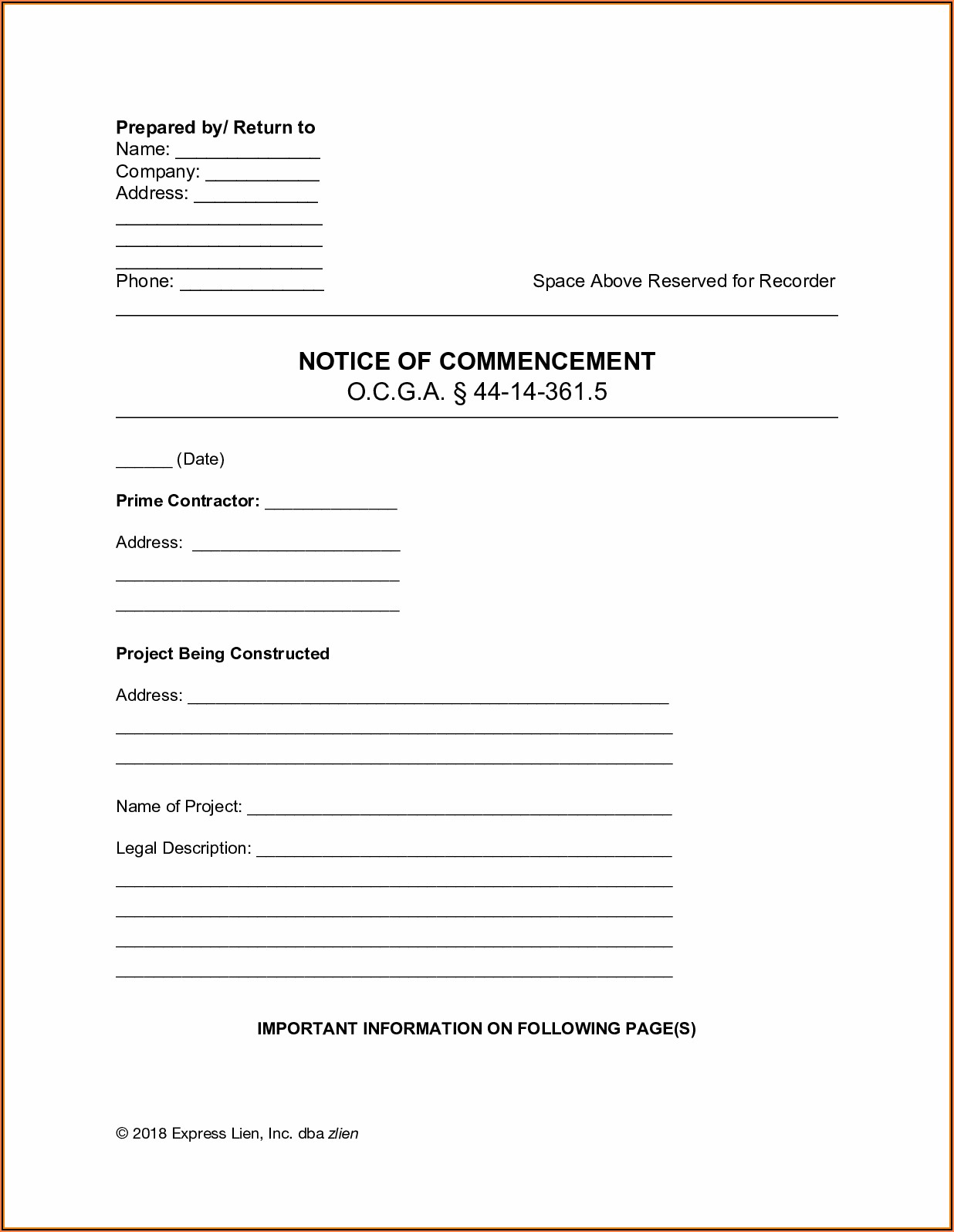 Preliminary Lien Notice Form Georgia