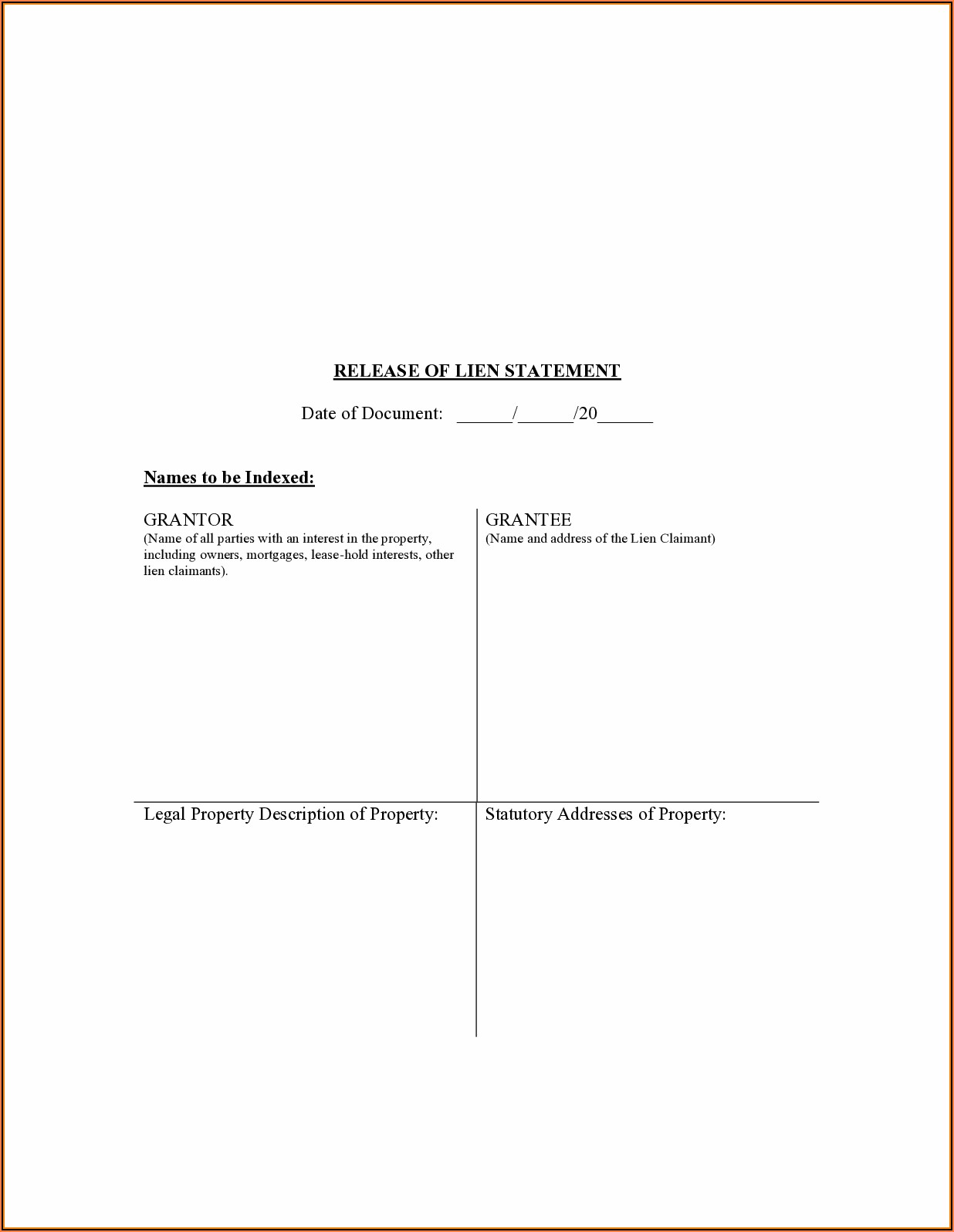 Preliminary Lien Notice Form Missouri
