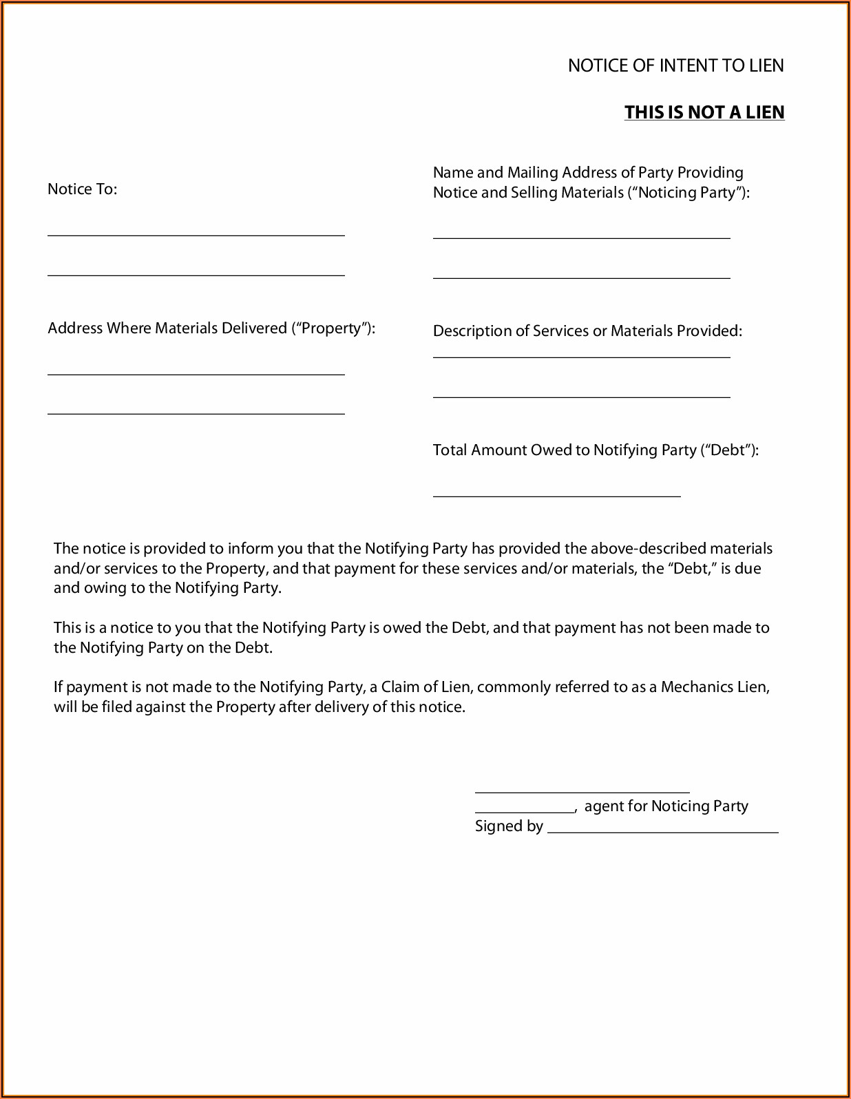 Preliminary Lien Notice Form Texas