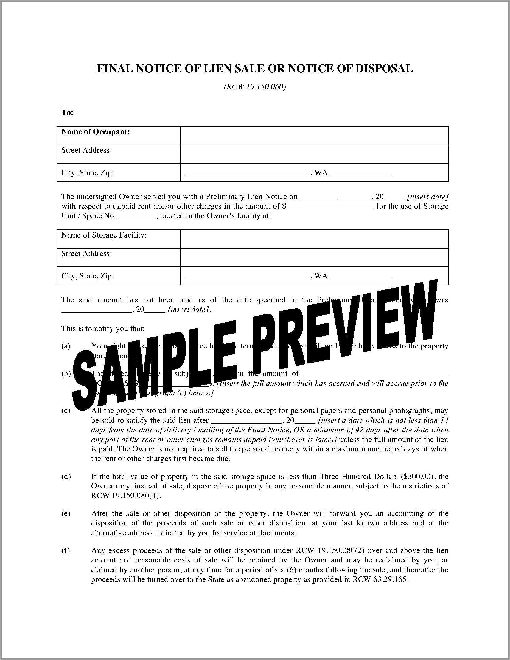 Preliminary Lien Notice Form Washington State