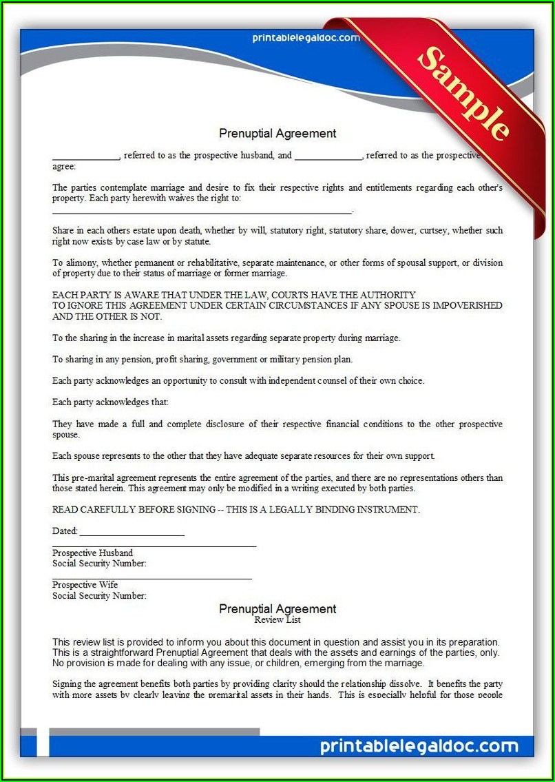 Prenup Contract Template Word