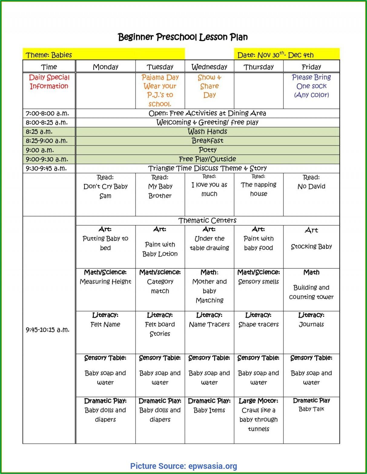 Preschool Lesson Plan Template Printable