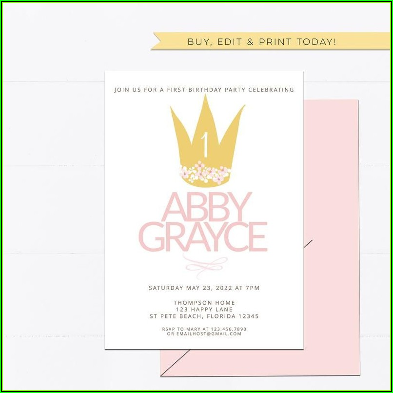 Princess Crown Birthday Invitation Template