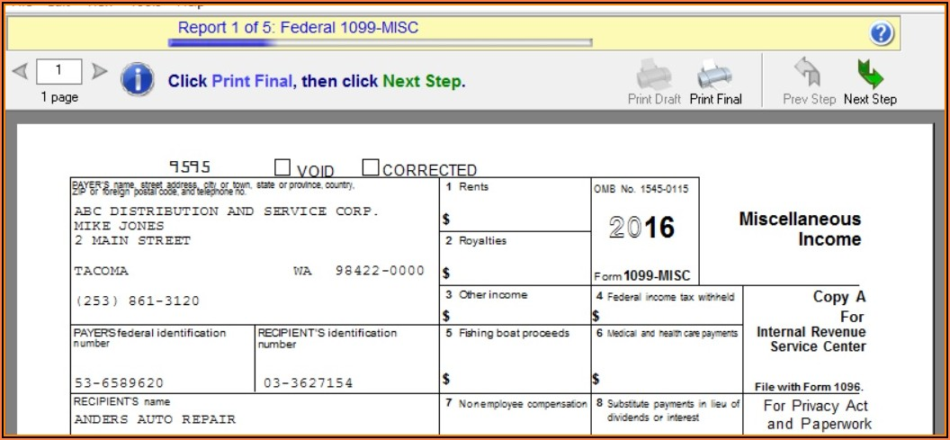 Print 1099 Forms In Sage 50