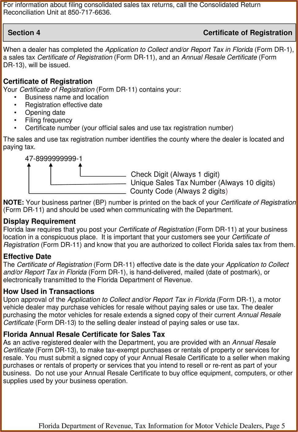 Print Florida Annual Resale Certificate Form Dr 13