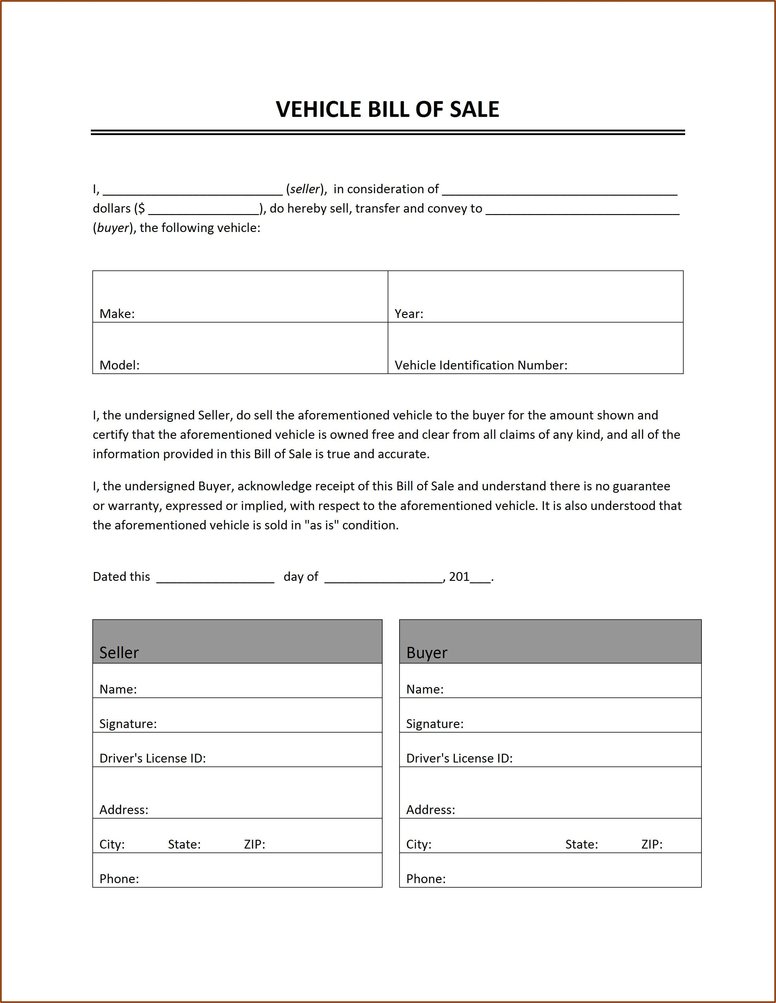 Printable Auto Bill Of Sale Form