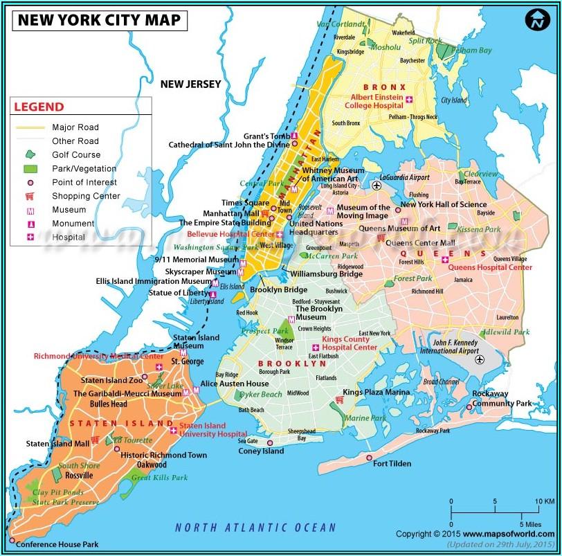 Printable Map Nyc 5 Boroughs