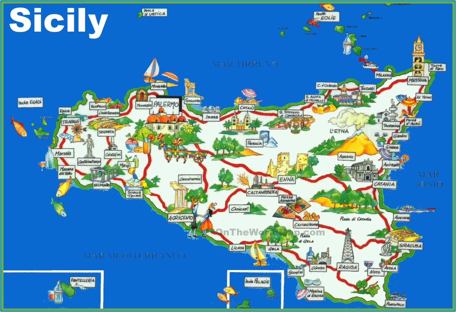 Printable Road Map Of Sicily