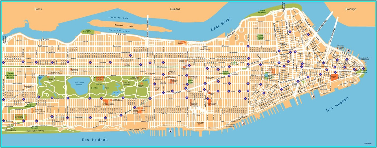 Printable Street Map Of Manhattan New York City