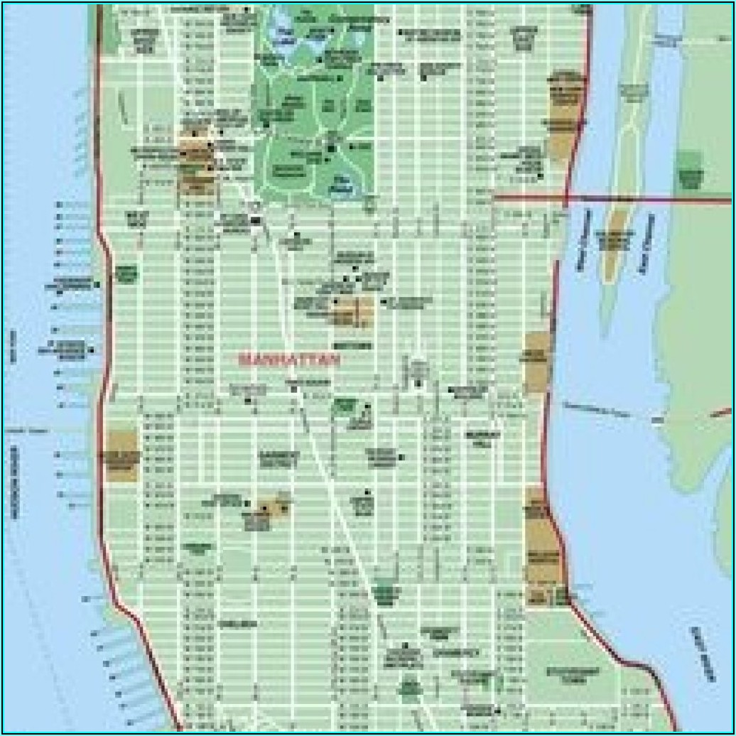 Printable Street Map Of Manhattan Nyc